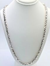 "Men's Solid 14K White Gold 22"" Handmade Chain Link Necklace 5mm - 47.4 grams"