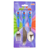 PJ Masks 3pc Kids Cutlery Set Featuring Catboy, Owlette & Gekko On Blue Cutlery