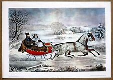 Currier and Ives  The Winter Road  Vintage Original 1960 1st Print Ltd Ed Litho