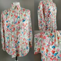 UNITED COLOUR BENETTON Women's Vintage Floral Blouse ITALY Blogger Retro 12 14