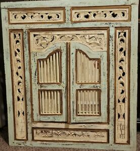 """Vintage Hand Carved Distressed Wooden Mirror with Shutter Doors- Large 31.5""""x35"""""""
