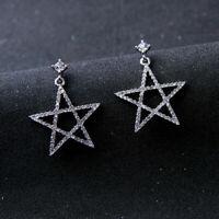 Silver Lucky Star Women Elegant Fashion Earrings Drop Dangle Crystal Jewelry