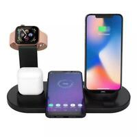 4 in 1 Wireless Charging Station Dock Charger Stand Apple Watch Air Pods iPhone