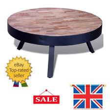 Vintage Teak Coffee Table Side With 3 Metal Legs Reclaimed Wood Round Furniture
