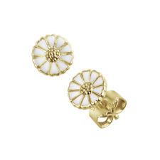 Georg Jensen. Daisy Earrings. Gold plated Silver /white Enamel 7 mm.