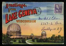 Postcard Folder Wisconsin WI Lake Geneva Map Yerkes Observatory Speed Boat Linen