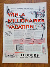 1954 Fedders Room Air Conditioner Ad Win a Millionaire's Vacation Contest