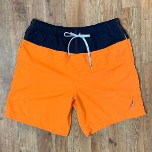Nautica Mens Orange Swim Trunks w Black Trim Elastic Waist 2 Pkt Logo Sz M