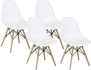 White Set Of 4 Modern  Dining Room Style Dining Chair Mid Century Wooden Legs