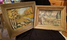Lot of 2 VTG / Antique Original Paintings Landscape & Houses Signed C Parret   R
