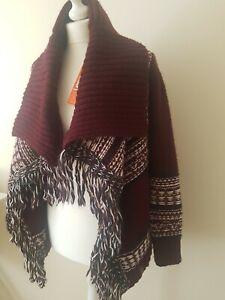 Superdry Womens Rhumi Tassel Cardigan burgundy size XS (8)brand new