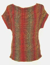 Fioreblu Sweater S Womens Wool Blend Cable Knit Boat Neck Red Multi-Color Italy