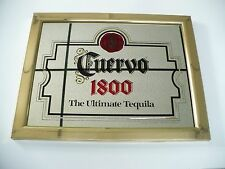 RARE Vintage 1986 Brass Framed Cuervo 1800 Tequila Bar Mirror