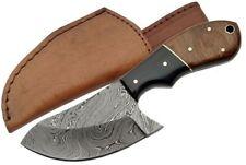 "WALNUT 6.5"" DAMASCUS CAT SKINNER KNIFE Fixed Blade DM-1062 w/ sheath"