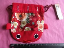 New Daiso Japan Red Japanese Koi Pattern Pouch Coin Purse