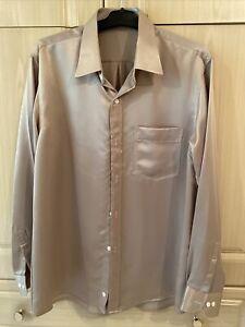 NEW - Taupe Silk Hand Made Shirt Shirt - Size 16.5