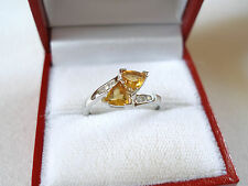 .52 Ct. Citrine & Diamond  10k White Gold 'Wrap' Ring