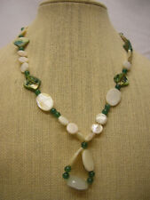 "Vtg Ladies Cream & Green Stone Statement Necklace Clasp Marked 925 22"" Long"