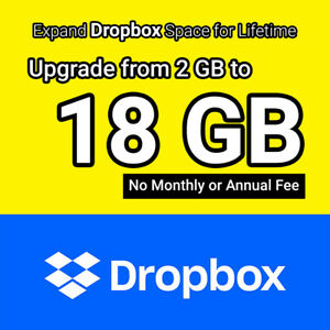 Dropbox 18GB Lifetime Upgrade Permanent Space Within 16 Hours
