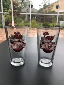 Tampa Bay Buccaneers Super Bowl LV 55 Champions 16 oz Beer Pint Glass Set Of 2