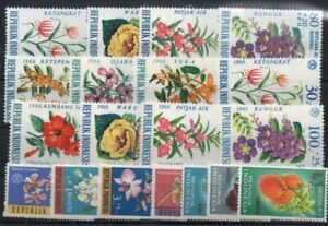 Stamps of Indinesia 1962-1965-1966  MNH flowers  fruit  set