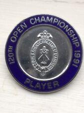 1991 Open Golf Championship Players badge rare, Baker-Finch