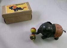 Vintage circus elephant with weights wind-up toy with box, RARE, Japan 1950's