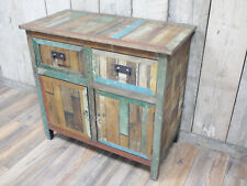 Vintage Rustic Solid Wood Cabinet Cupboard Sideboard Unit Chest Of 2 Drawers A