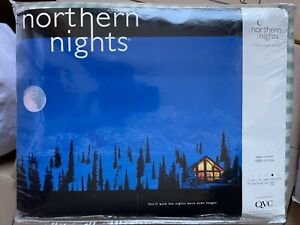 Northern Nights Gingham Check King Reversible Flannel Blanket NEW NIB NOS moss