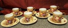 Seven Aynsley Orchard Gold Coffee Cans & Saucers - Mint Condition-  N Brunt