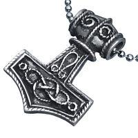 Viking Jewelry Mjolnir Norwegian Thor's hammer 2 sided Pewter Pendant Necklace