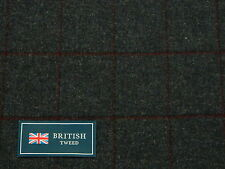 100% Lana Tweed Tela, mezcla de color azul con diseño a cuadros-Hecho En Inglaterra