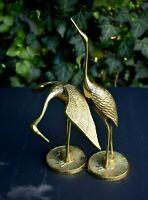 "Vtg Pair Brass Crane Heron Flamingo Statue Figure 8.5"" & 5.5"" Handsome Couple"