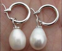 Genuine AAA natural south sea white 8x10mm pearl dangle earrings 14k white gold