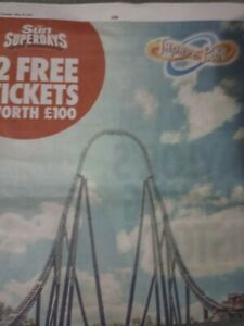 ALL 9 SUN SAVERS CODES TO OBTAIN 2 THORPE PARK RESORT TICKETS ..BUY NOW £7.99