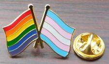 Rainbow & Transgender Flag Friendship Pin Badge Pride LGBT Brooch Gay Diversity