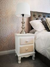 Louis White Painted 2 Drawer Bedside Cabinet / Retro French Style Bedside Table