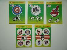 Vintage Fleer 1990 Action Series Baseball Teams Stickers - MLB (lot of 5)