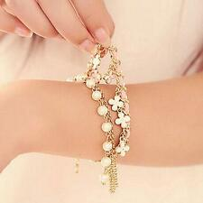 Fine Multilayer Clover Flower Bracelet Pearl Chain Bangle Waistband Jewelry