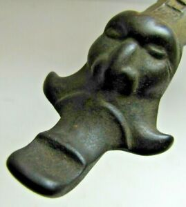 Antique Scary Evil Face Head IDEAL Cast Iron Stove Lid Lifter Hearth Ware Tool