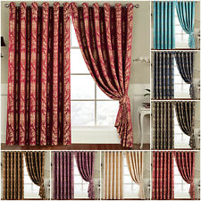 Eyelet Ring Top Fully Lined Semi Blackout Curtains Bedroom Window Curtains Pair