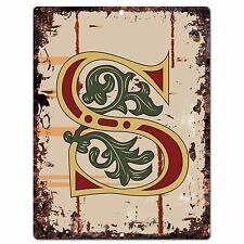 PP0527 Alphabet Medieval Initial Letter S Chic Sign Bar Shop Store Home Decor