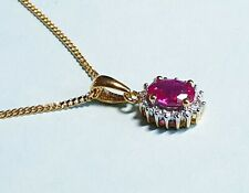 18CT GOLD PLATED SILVER RUBY  & DIAMOND ACCENT PENDANT