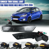 Smoke Dynamic Sequential LED Turn Signal Light Mirror Indicator For Ford Focus 2