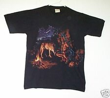 *WOLF AND INDIAN WARRIOR* T shirt M *QUALITY* NIGHT