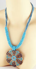 Festival Time Large Blue Enamel Pendant & Necklace. Brand New.