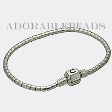 "Authentic Chamilia Silver Terrazzo Beaded Bracelet with Snap Lock 7.9"" 1015-0003"