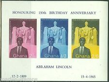 GHANA  IMPERFORATED SOUVENIR SHEET ABE LINCOLN  SCOTT#41a MINT NEVER HINGED