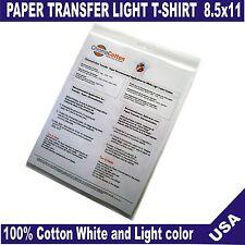 100 ChromaCotton Transfer Paper 8.5x11 for White Light White T-shirt 100%Cotton