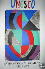 Sonia Delaunay Affiche originale en lithographie 1975 Art Abstrait Abstraction